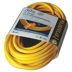 Polar/Solar Outdoor Extension Cord, 50ft, Three-Outlets,